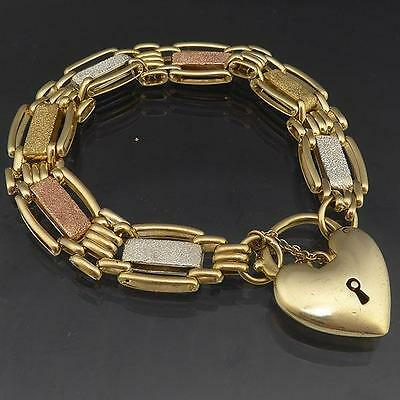 Substantial 3-Tone 9k Solid Yellow White Rose GOLD GATE BRACELET