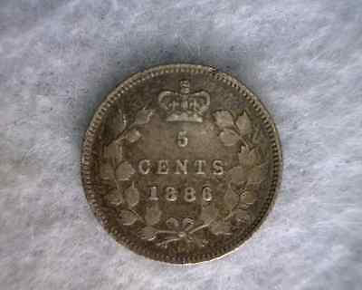 "CANADA 5 CENTS 1886 "" SMALL 6 "" VERY FINE SILVER COIN (Stock# 0279)"