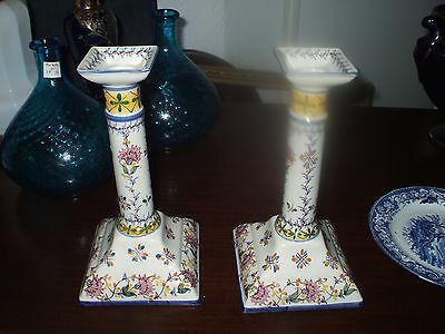 Pair Hand Painted China Candlesticks Vintage 1956