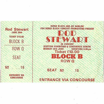 ROD STEWART Concert Ticket Stub GLASGOW SCOTLAND 6/30/86 EVERY BEAT OF MY HEART