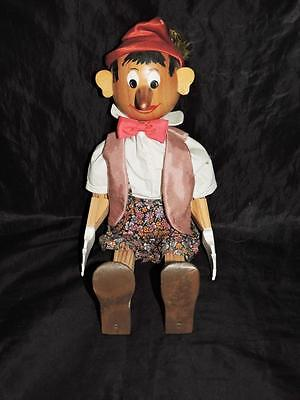 "Vintage German Pinocchio Wood Doll Folk Art Jointed 18"" Red Hat Clothes Painted"