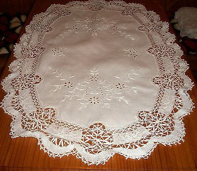 Antique White Linen  Table Centre Hand Embroidered & Lace Edge