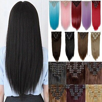 100% Real Thick Clip In Hair Extensions Long Curly 8PCS Full Head Hair Piece AU