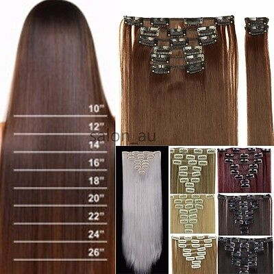 100% Real Thick Clip In Hair Extensions Long Curly Full Head 8PC Ombre Brown BA7