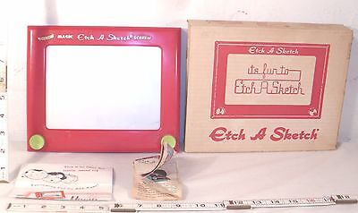 OHIO ART MAGIC ETCH A SKETCH TOY SET BOXED 1960s WORKS NICE!