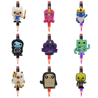New 27PCS Adventure Time PVC pencil cap topper stationery pen Kids party Gifts