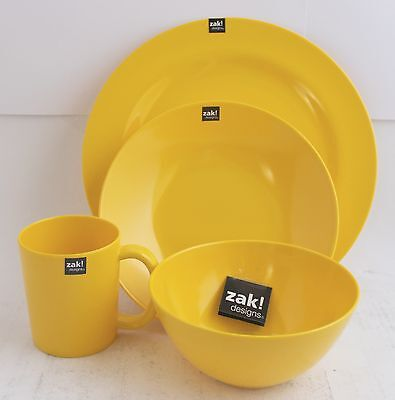 ZAK design BBQ Set Plate Soup dish Cup Cereal bowl Yellow Outdoor Camping
