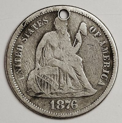 1876 Seated Liberty Dime.  Love Token.  104675