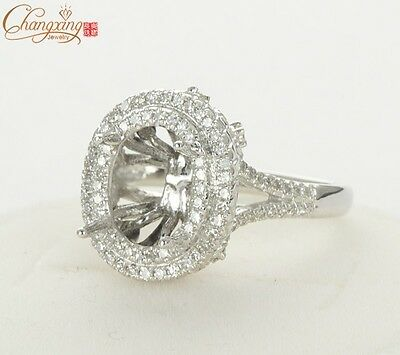 14k White Gold 10x8mm Oval Cut Pave 0.98ct SI Diamond Engagement Semi Mount Ring
