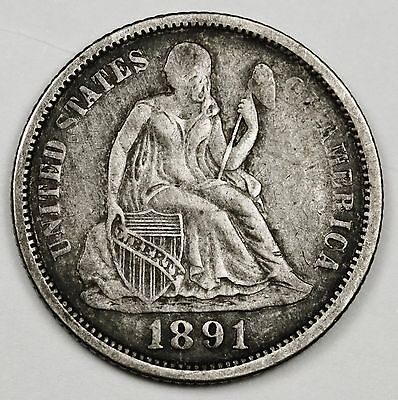 1891-o Liberty Seated Dime.  V.F.  105893