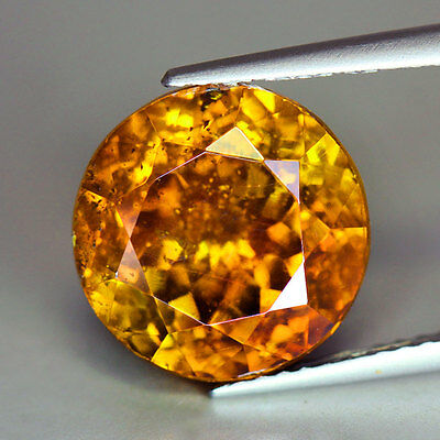 "8.99Cts""Spain"" Vivid Orangish Yellow ""Round Cut"" Natural "" Sphalerite ""PR471"