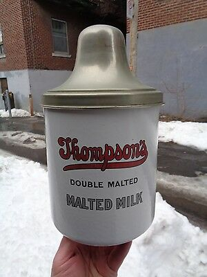 """VINTAGE c.1940 PORCELAIN ENAMEL """"THOMPSONS DOUBLE MALTED"""" MALTED MILK CONTAINER"""