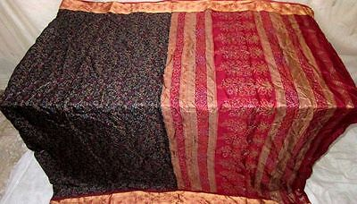 Pure silk Antique Vintage Sari Saree Fabric 2 YARDS Black Maroon #ABGBE