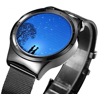 Fashion Stainless Steel VIGOROSO Men's Black  Mesh Waterproof Sports Wrist Watch