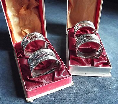 FOUR Boxed SUPERB ~ SILVER Plated ~ Pierced NAPKIN Rings ~ c1950
