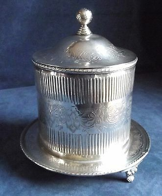 SUPERB Large ~ SILVER Plated ~ Engraved & Fluted ~ BISCUIT / Tea BARREL  ~