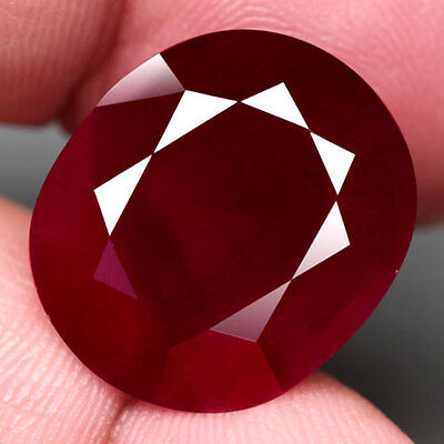 24.15Ct.jumbo! Oval Facet Top Blood Red Natural Ruby Madagascar Nr!