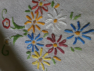 "Very Pretty Vintage Hand Embroidered Tablecloth  33"" X 31"""
