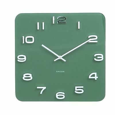 Karlsson Vintage Glass Wall Clock Jungle Green Numbers Square Retro
