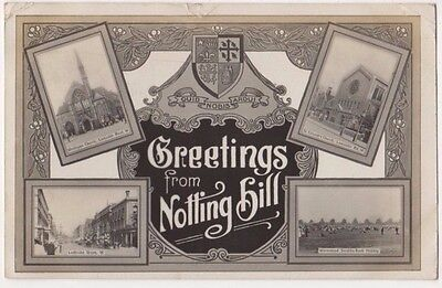 London, Greetings from Notting Hill 1907 RP Postcard B749