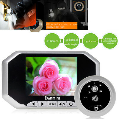 """3.5"""" 160°Home Security Door Viewer Wide Angle Spy Peep Hole LCD Camera Silver US"""
