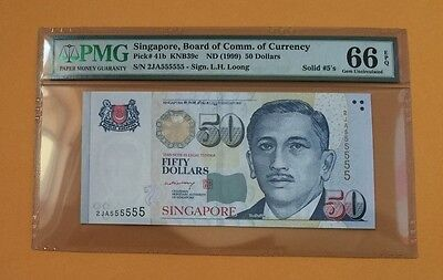 Singapore Portrait Series L.H. Loong sign $50 banknote Serial 555555 PMG 66 EPQ