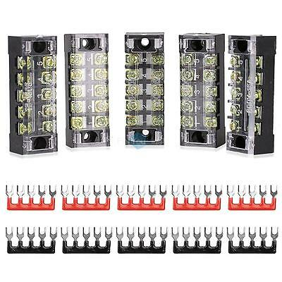 5Pcs 8 Positions Dual Rows Covered Barrier Screw Terminal Block + 10 x Stripes