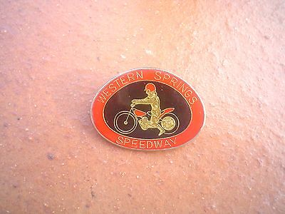 Rare  Western Springs Australia   Speedway Badge   Mint  Con In  Silver