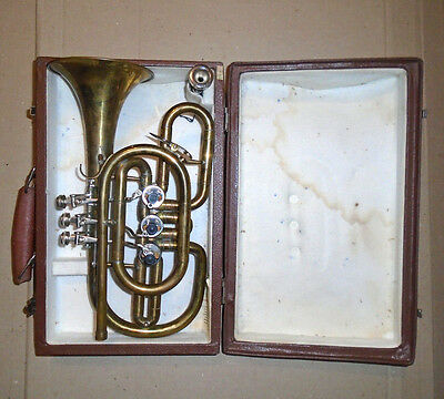 Vintage USSR Brass Pipe Cornet 1985 for restoration with case