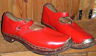 Vintage Antique Red Leather Mary Jane Pit Factory Clogs Shoes Sandals Uk 6 6.5