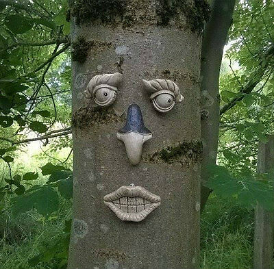 Novelty Garden Tree Face Garden Ornament Decoration Funny Face Fence Shed Tf100