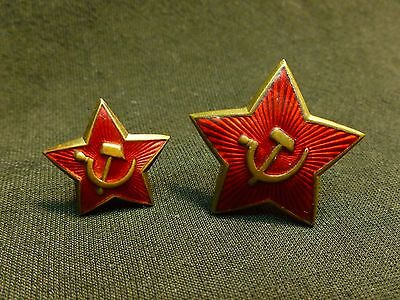 2 Russian Soviet WWII Uniform Hat Badge Cockade Brass Enamel RARE USSR