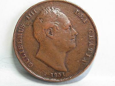William Iv Copper Penny Coin Dated 1831