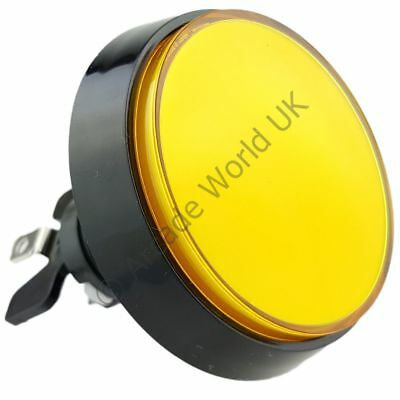 1 x High Profile 60mm Illuminated Arcade Button Yellow with Microswitch &12V LED