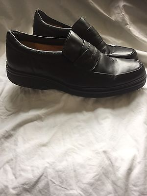 Mens CLARKS Black Leather Extra Wide Shoes - Uk 10.5