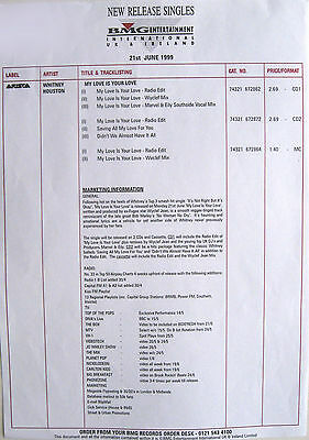 WHITNEY HOUSTON PROMO Info Sheet BMG 1999 ONE ONLY!