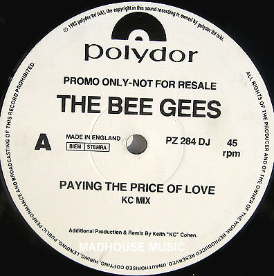 "BEE GEES 12"" Paying The Price Of Love UK DJ PROMO KC Mix / OCEAN DRIVE Mix"