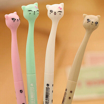 Carino Kawaii Fun nero Gel Inchiostro Rullo Ball Point Gatto Colore Penna