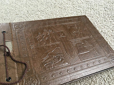 VTG 1950s Faux Leather Embossed Patriotic cover Photo Album Black Blank Sheets