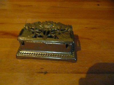 Vintage Ornate Brass Box. Pins/stamps/pills Etc
