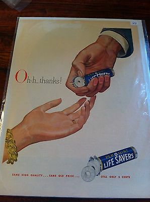 Vintage 1948 Life Savers Pep O Mint Candy Woman & Man's Hand Print ad