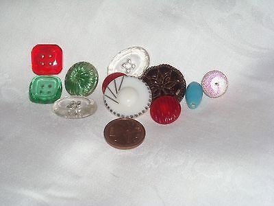 N86 Vintage Lot of 11 Mix deco glass buttons