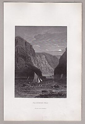 Der Felsen Loreley am Rhein  - Stich, Original Stahlstich 1862 ****