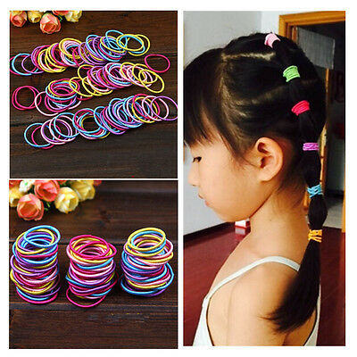 Elastic Hair Bands Kids Baby Girl 100 Pcs Ponytail Holder Head Rope Ties