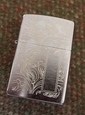 Zippo Lighter Case EMPTY, Brand New - Tulip Pattern Brushed Chrome. NEW