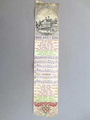 Antique BOOKMARK Woven Silk Stevengraph T Stevens Coventry Home Sweet Home Song