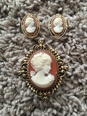 Vintage Avon Cameo Perfume Inside Pin Brooch Locket Gold Tone Earrings Set