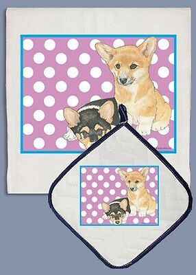 Dish Towel & Pot Holder - Pembroke Welsh Corgi Puppy Pair DP887B