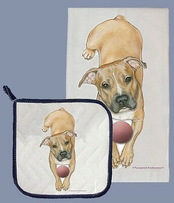 Dish Towel & Pot Holder - Fawn Pit Bull Terrier DP582