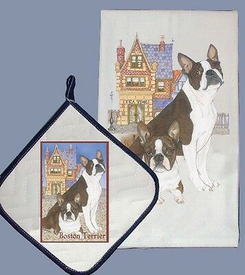 Dish Towel & Pot Holder - Boston Terrier With House DP919